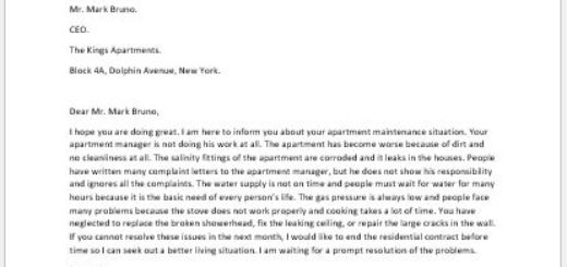 Complaint Letter for Apartment Maintenance