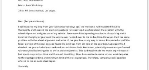 Complaint Letter for Bad Repair of Vehicle