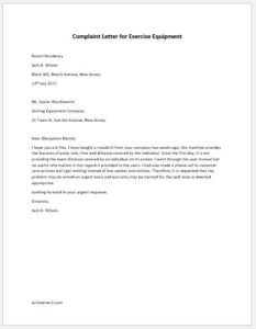Complaint Letter for Exercise Equipment