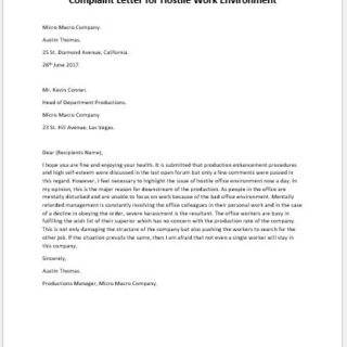 Complaint Letter for Hostile Work Environment