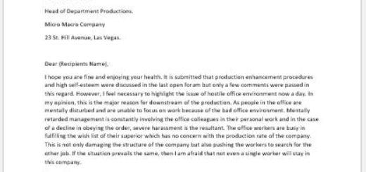 Complaint Letter for Hostile Work Environment