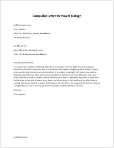 Complaint Letter for Power Outage