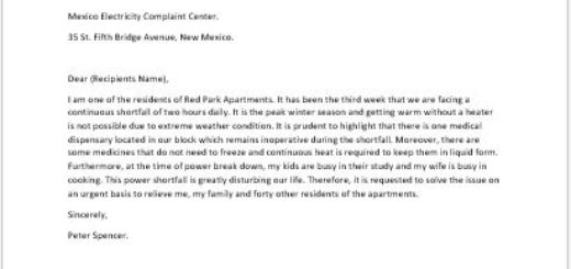 complaint letter to apartment manager