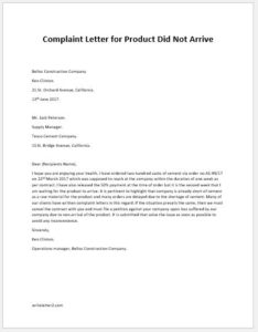 Complaint Letter for Product Did Not Arrive