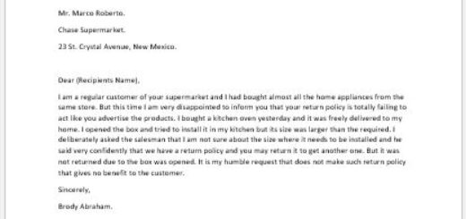 Complaint Letter for Return Policy