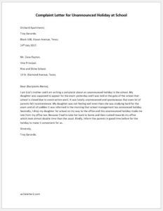 Complaint letter for unannounced holiday at school writeletter2 complaint letter for unannounced holiday at school spiritdancerdesigns Images