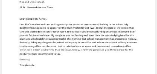 Complaint Letter for Unannounced Holiday at School