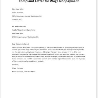 Complaint Letter for Wage Nonpayment