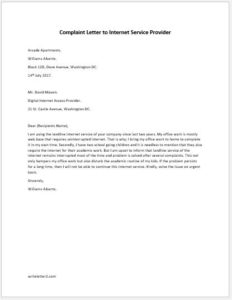Complaint Letter to Internet Service Provider