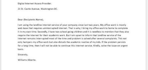 Complaint Letter to Internet Service Provider