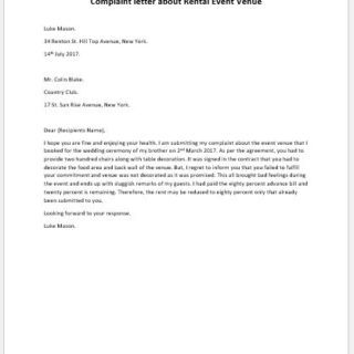 Complaint letter about Rental Event Venue