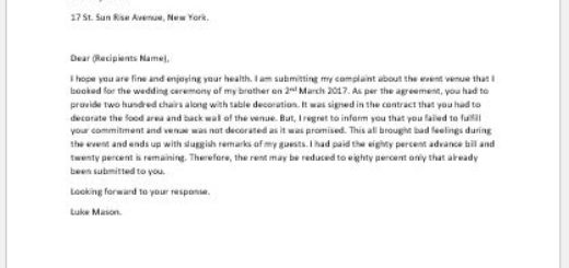 Complaint letter about Rental Event Venue