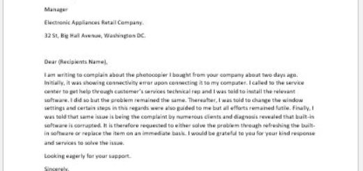 Complaint letter for the purchase of faulty photocopier