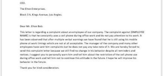 Complaint Letter for Cell Phone Use at Work Place