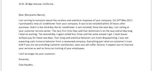Complaint Letter for Services Not Provided at Time