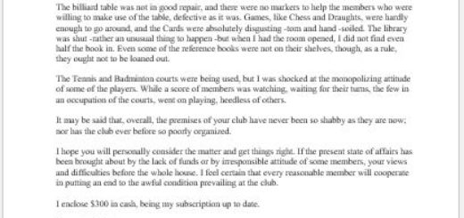 Complaint Letter about Inadequate Facilities at Club