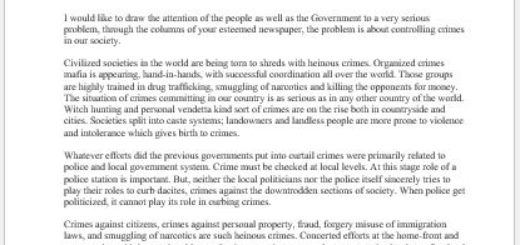 Letter to Editor about Controlling Crimes