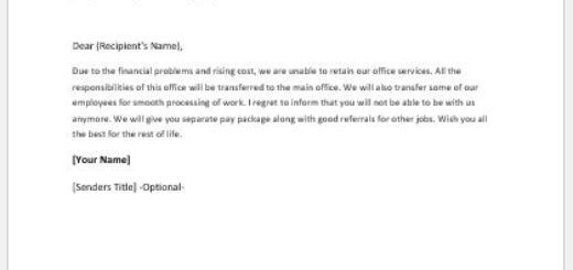 Letter announcing office closing due to financial problems