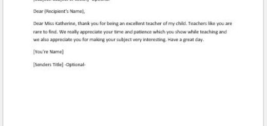 Thank you letter to teacher from parents