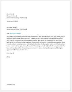 Complaint letter against defective product