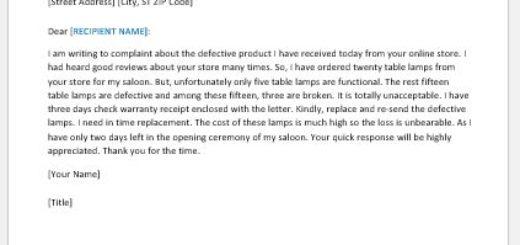 Complaint letter against defective product