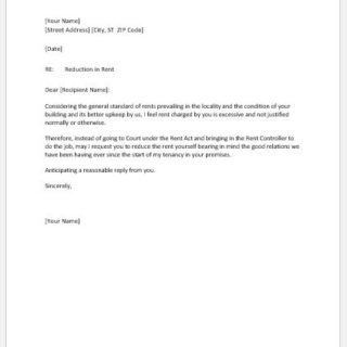 Rent Reduction Request Letter