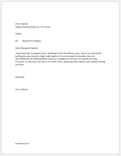 Request letter for rental apartment repairs