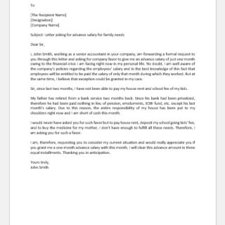 Letter Asking for Advance Salary for Family Needs
