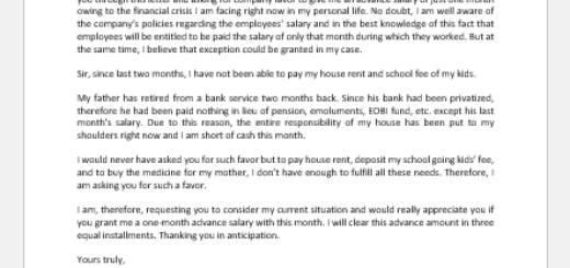 Letter Asking for Advance Salary for Family Needs