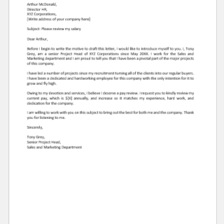 Letter to Employer for Pay Review