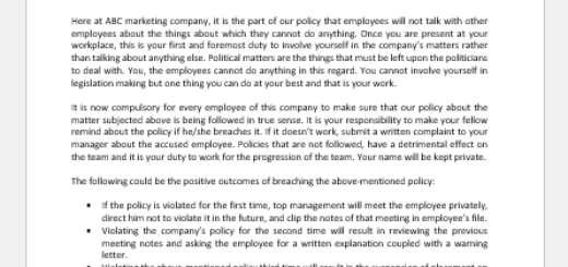 Political Talk at Workplace Policy Letter to Employees