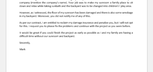 Positive Letter to Contractor that has Damaged Property
