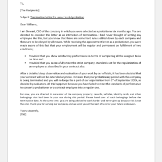 Termination Letter for Unsuccessful Probation