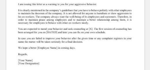 Warning Letter for Aggressive Behavior