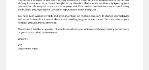 Warning Letter for Not Sticking to Role Given