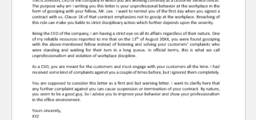 Warning Letter To Employee For Gossiping from writeletter2.com