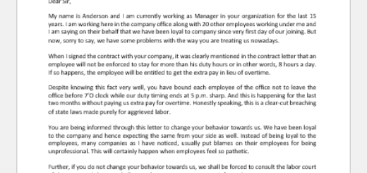 Angry Letter to Boss for Not Working More Than Allocated Hours