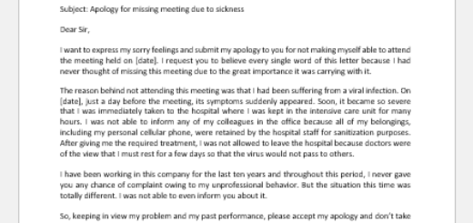 Apology Letter for Missing a Meeting due to Sickness