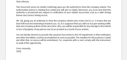 Authorization Letter to Drive Company Vehicle