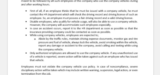 Company Vehicle Use Policy Letter