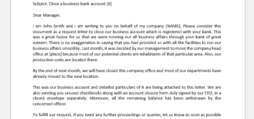 Letter to Close Business Bank Account