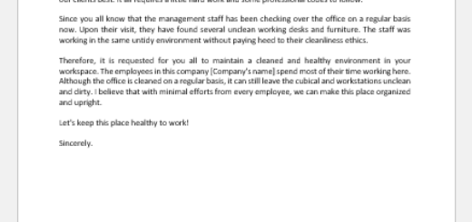 Letter to Staff Informing to Maintain Cleanliness