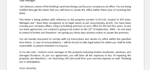 Letter to Vacate Office Premises