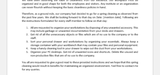 Memo to Staff for Office Spring Cleaning