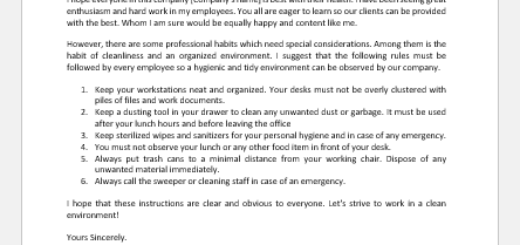 Office Cleanliness Policy Letter