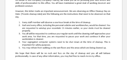 Office Cleanup Day Announcement Letter