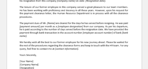 Payment Clearance Letter to an Employee