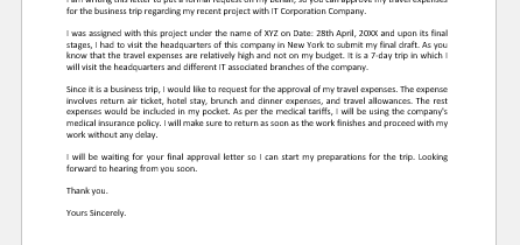 Request Email for Approval of Travel Expenses