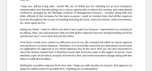 Request Letter for Approval of Travel Expenses