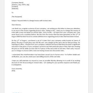 Request Letter to Change Invoice with Revised Rates